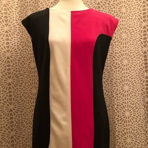 Anne Klein Color Block Pink White & Black Dress